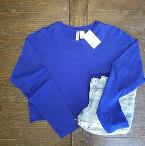 XS blue crop shirt